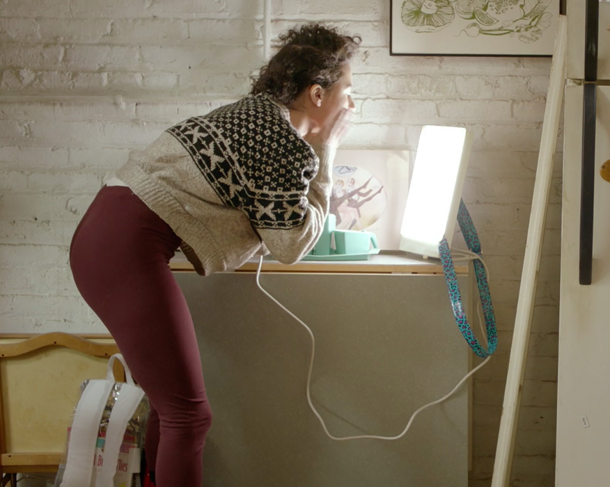 "Ilana's seasonal affective disorder in the Broad City episode ""S.A.D. Lamp/Happy Lamp."""