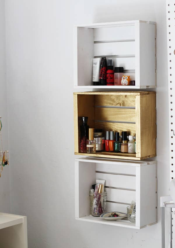 Or Paint Some Wine Crates To Match The Walls And Hang Them With Command Strips If You Can T Commit Such A Permanent Change