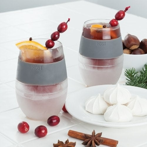 """Just stick the glasses in the freezer, take 'em out when you're ready for your beverage, pour your room temperature wine inside, and voila, it becomes chilled!Promising Review: """"The glasses are amazing! My wine is chilled to the perfect temperature with every pour."""" —Phoebe MorganGet them from Amazon for $17.50."""