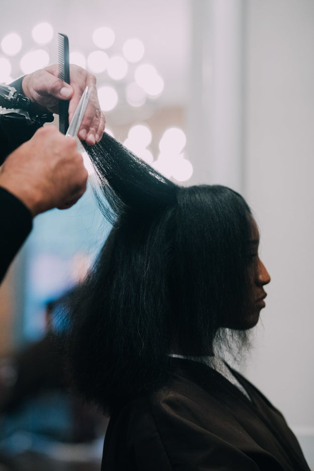 Natelege wanted to maintain her length, so Andre slightly trimmed her damaged ends to give her hair some shape. You don't have to trim all your split ends at once, although this is recommended, as long as you regularly snip them away as your hair grows.