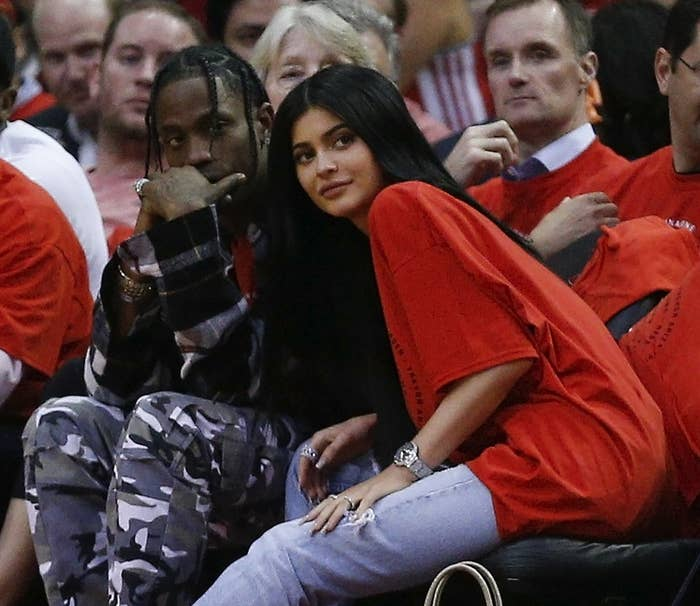 First spotted together in April, Kylie Jenner and Travis Scott are rumored to be expecting a child together — still no confirmation. TMZ is claiming that it's a girl though, so there's that. All I know is that the couple looked supa cute together at Kris Jenner's Christmas Eve party!!!