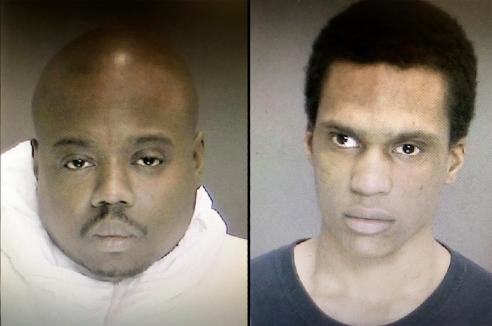 James White, left, and Justin Mann, right, were taken into custody Friday night in connection to the killing of a 35-year-old woman, her two children and partner.