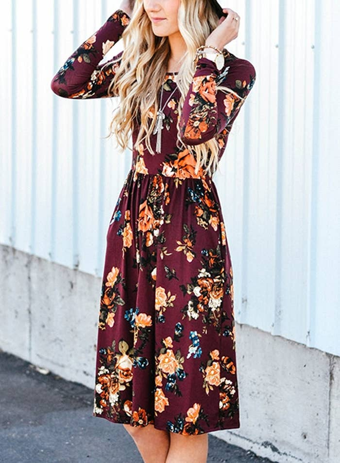 00693644b5 A long-sleeve dress with florals that'll still stay fresh even when snow  starts falling.