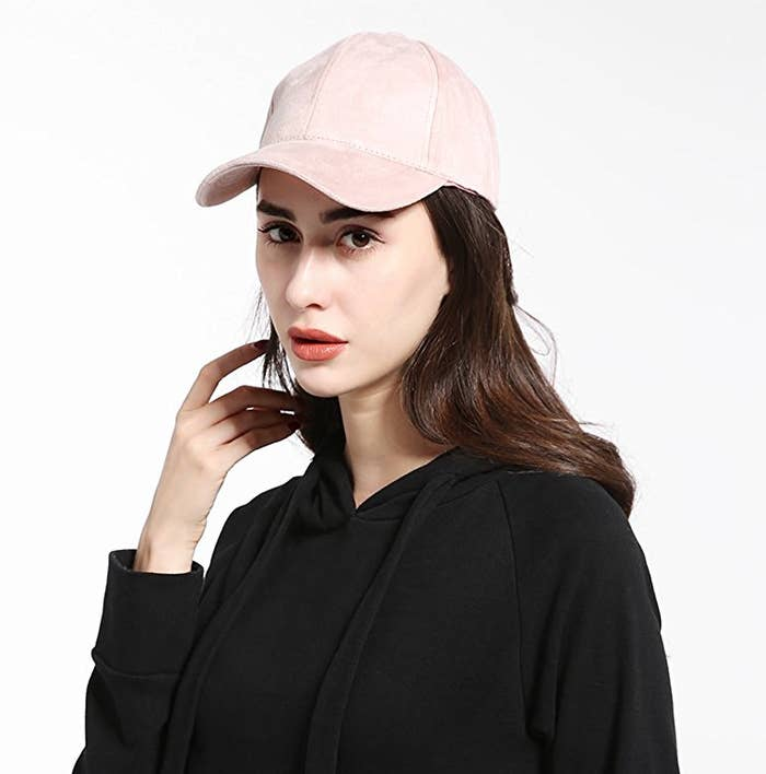 7cea4e36513 A faux suede baseball cap to top off even the laziest outfits into a  masterpiece.