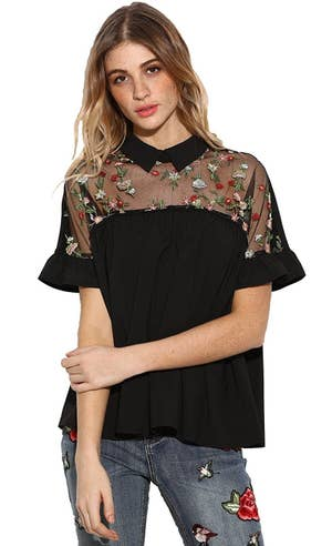 8233c05c4a8fe A floral embroidered semi-sheer collared blouse for a statement no one will  be able to look past.