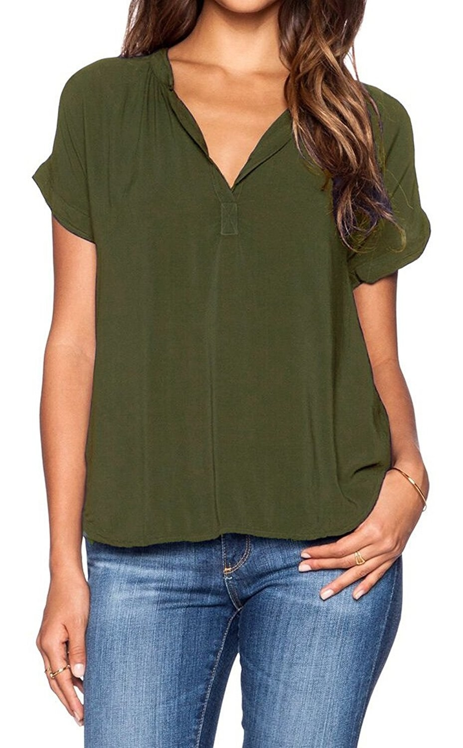 77e5e36c40a6 A chiffon V-neck blouse to update your old T-shirt without blowing your  budget.