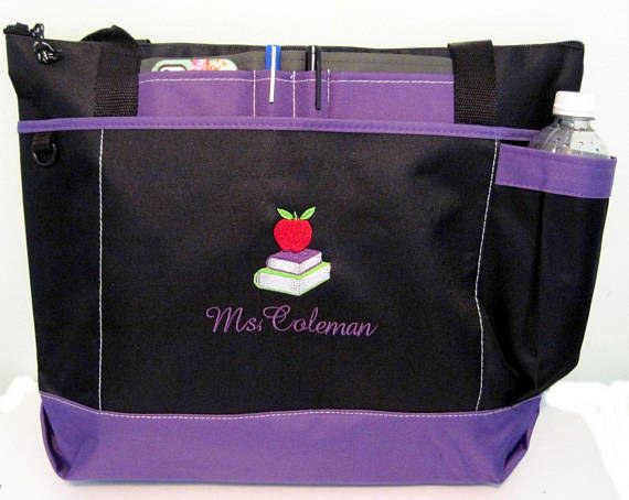 """heavyweight zipper purple and black polyester totebag with front pockets for phone, pens, and water bottle, embroidered with an apple and """"Mrs. Coleman"""""""