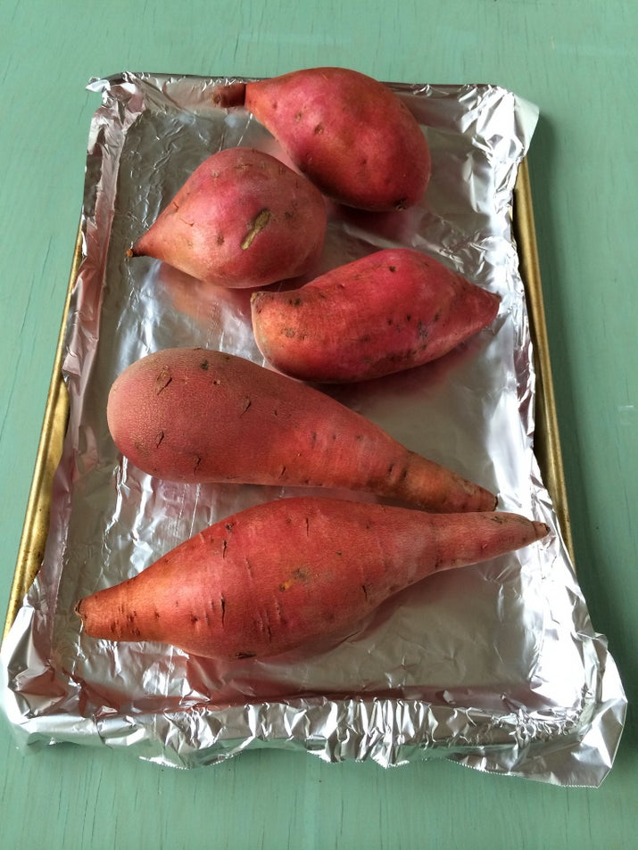"""One of my pet peeves is when people microwave sweet potatoes or yams to eat them plain. Roasting them whole — with the skin on — caramelizes the natural sugars. Cooked this way, you don't need to add salt, pepper, sugar, butter, cream or anything else. The skin gets crispy and the flesh is creamy and sweet."" —Kylie Glatt, Facebook"