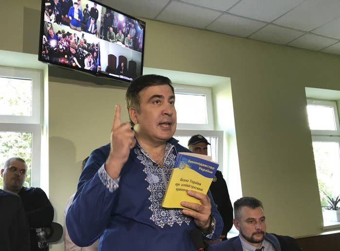 That didn't stop him from, in typical Saakashvili fashion, crossing the Polish-Ukrainian border by train, a stunt that the government says left several people injured. Since then, he's been bopping around the country, rallying support for his efforts to solve the country's political crisis.