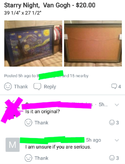 a $20 van gogh image for sale and someone asking if it's an original painting