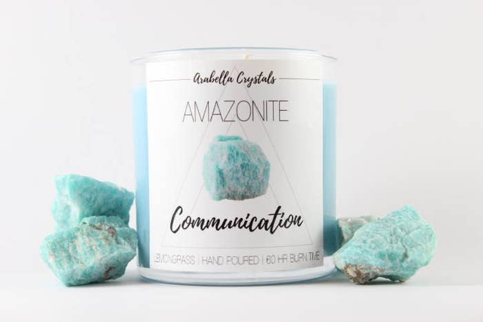"""Promising review: """"Smells amazing and burns really nicely. Can't wait to get to the bottom to find my crystal!!!"""" —Cheryl C.Get it from Arabella Crystals on Etsy for $15.95."""