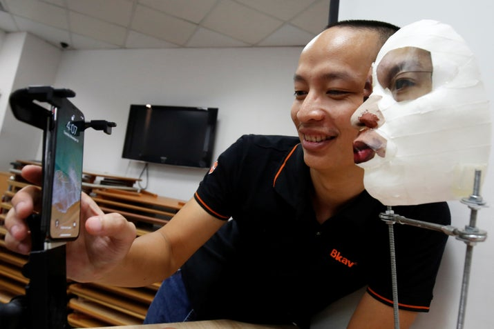 So we don't even need to wait for Face/Off surgery! A Vietnamese cybersecurity firm did a test using a silicon mask. While the mask worked successfully in a demo for reporters at Reuters, the researcher said he couldn't do it on a new blank phone, because it would take too long to set up. So take it with a tiny bit of skepticism.