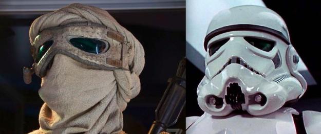 Rey's goggles were repurposed from a stormtrooper helmet.