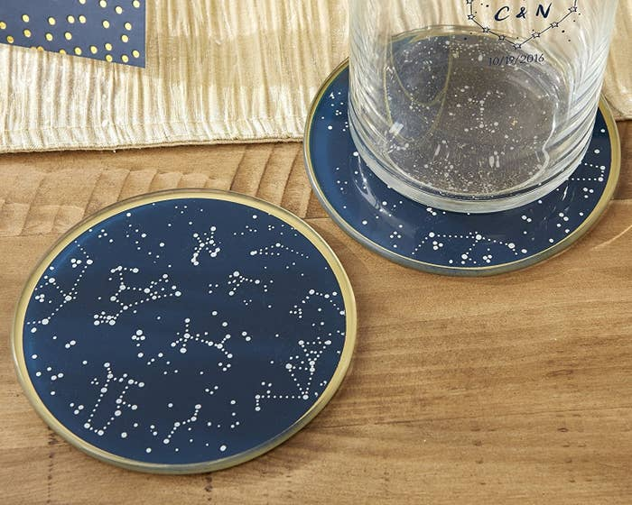 """Product review: """"I love these; they're beautiful. I debated awhile because I didn't want to spend much on coasters, especially since it only comes with two, but I'm really so glad I pulled the trigger. No matter where I have them in my house they match the decor and are really pretty and just nice quality and design all around."""" —LucyGet them from Amazon for $6.07."""