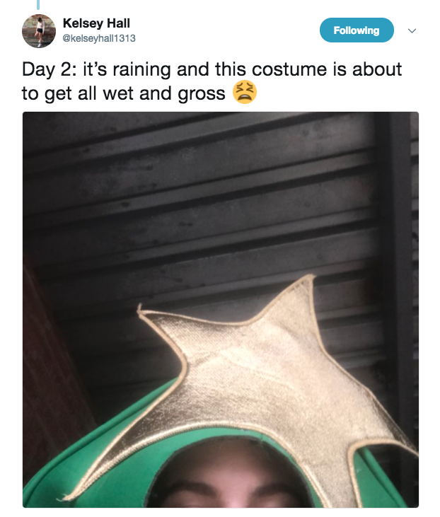 "To make matters more complicated, on Tuesday it rained and she endured not only a Christmas tree costume, but a WET tree costume. ""It was so bad because it's still really hot outside, so it was really warm, but also just soaked in water,"" she said."