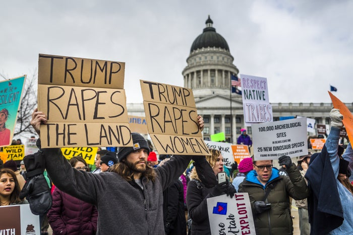 Protesters opposed to Trump's order shrinking two Utah national monuments in Salt Lake City on Dec. 4.