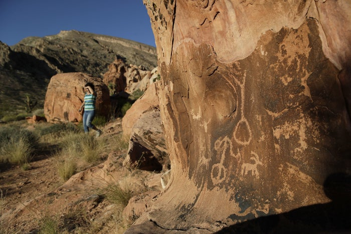 Petroglyphs at Gold Butte National Monument near Bunkerville, Nevada.