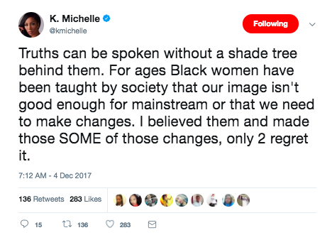 "She went on to say, ""Truths can be spoken without a shade tree behind them."" The artist even admitted that she's made changes to her image, which she later regretted, based on societal beauty standards placed on black women."