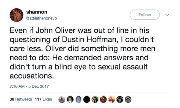Many women – and men – tweeted that whatever the circumstances Oliver's role should be celebrated.