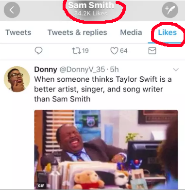Keep in mind: Sam allegedly shaded Taylor on Twitter by liking this recent tweet that dissed her.