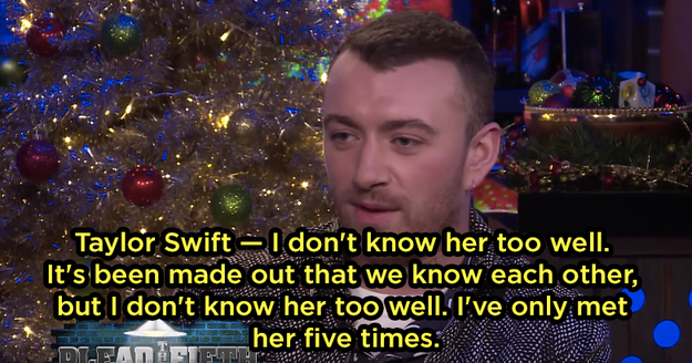 Anyway, Sam answered Andy's question by saying he doesn't know Taylor too well, even though it seems like they do.