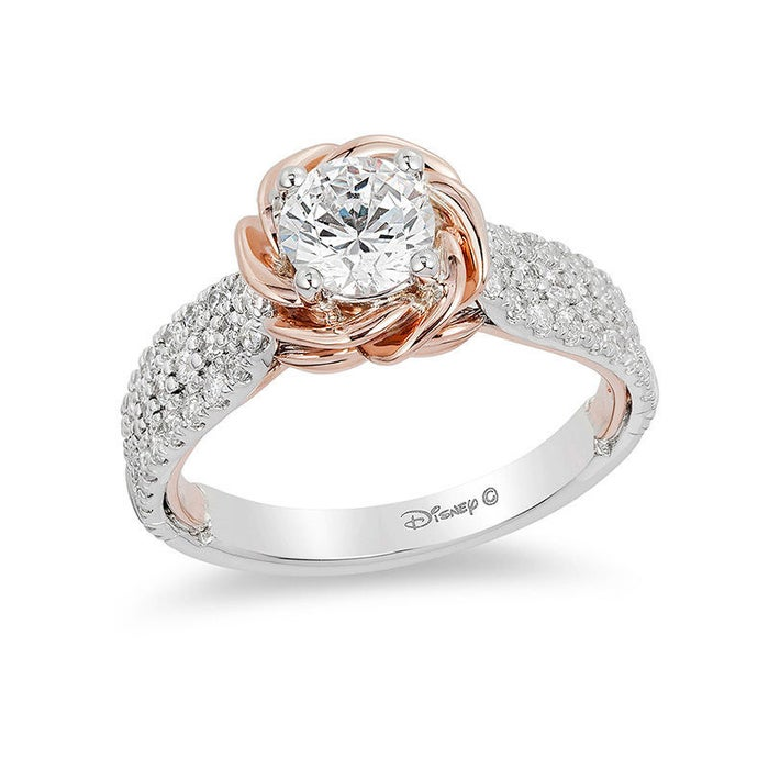 It has a rose-shaped rose gold setting (because of, ya know, the Beast's rose), contains 1.25 carats of total diamond weight with a 0.75-carat center stone, and costs $5,499.