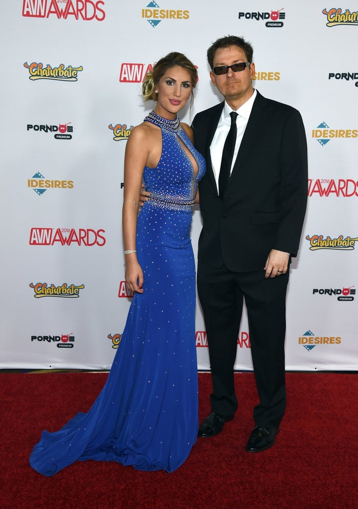 August Ames and her husband, adult film producer Kevin Moore, attend the 2016 Adult Video News Awards.