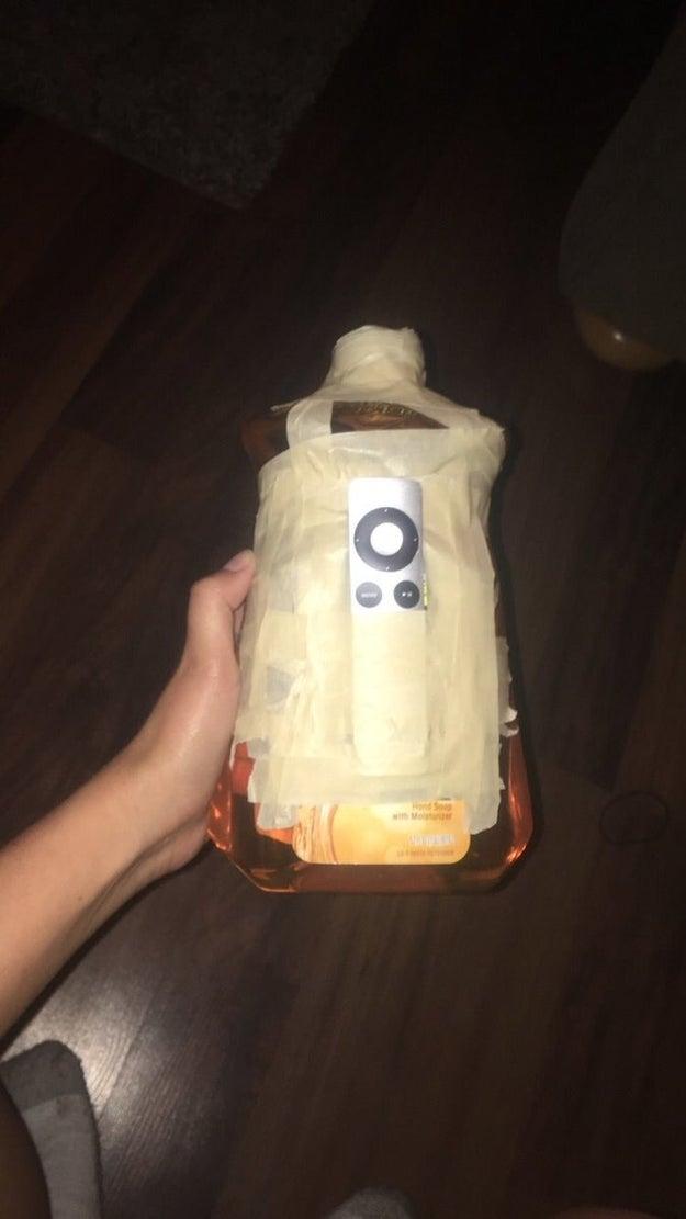 A giant container of orange liquid: