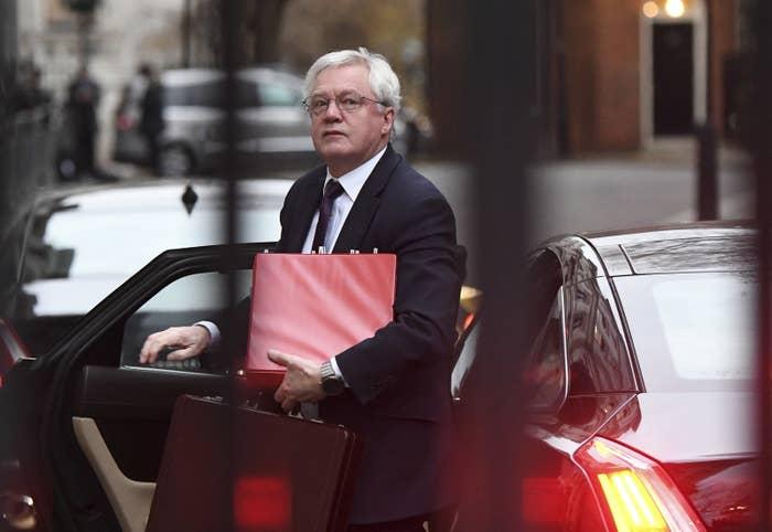 Brexit secretary David Davis arriving for work at Downing Street
