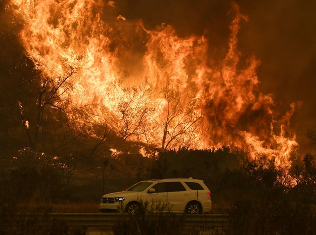 Pushed by powerful winds, the destructive brush fire in Ventura County, California, exploded to 96,000 acres and raged towards Santa Barbara County and the Ojai region early Thursday morning — prompting mandatory evacuations for hundreds of residents and forcing the closure of the 101 Freeway for several hours.