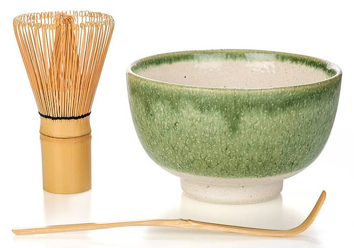 """Promising review: """"I love my matcha gift set. The bowl I purchased is true to color, and the whisk and scoop are made with great quality. I use my set every morning and I think it was the perfect buy for my budding matcha addiction."""" —A. BurtonGet it from Amazon for $31.97 (available in four colors)."""