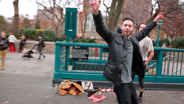 Immediately after getting the approval of the master herself, Eric hit the streets of NYC to proudly show off his invisible box challenge skills, because, why not?