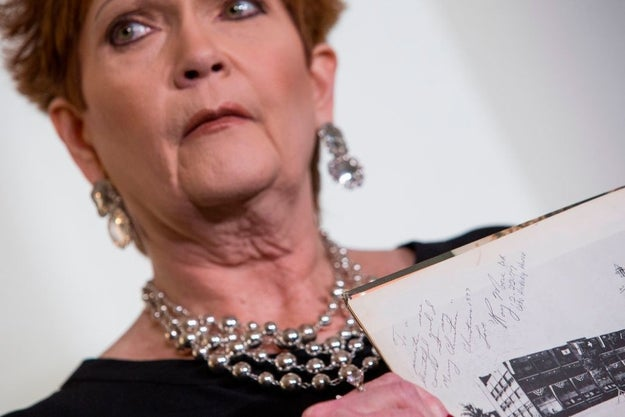 Beverly Young Nelson, who has accused Alabama senate candidate Roy Moore of assaulting her when she was 16, said in an interview Friday she wrote some notes underneath the high school yearbook inscription that Moore signed in 1977.