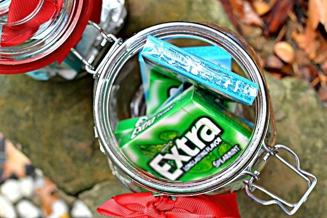 """I love Mason jars, and I always chew gum after lunch so my breath doesn't stink. This one kid got me a Mason jar full of gum. Best thing ever!—saraht4afb7266aSee how one mom styled jars of gum on Three Different Directions. Get a bulk 10-pack of Extra gum on Amazon for $10.44+, or do a search for """"bulk gum"""" to find the brand and flavor you're looking for."""