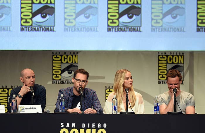 Bryan Singer sits on a panel with members of the cast of X-Men: Apocalypse, which he directed.