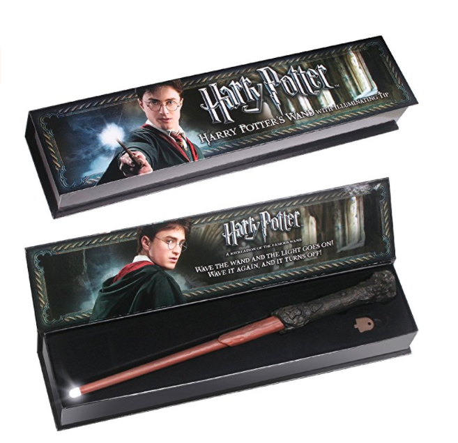 harry potter light-up wand in a gift box
