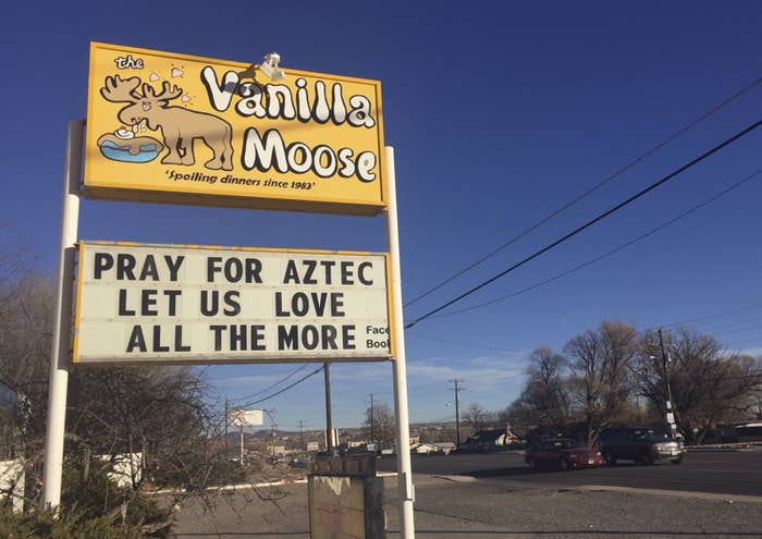 A sign encourages prayer outside an ice cream shop on Dec. 8, 2017, in Aztec, New Mexico.