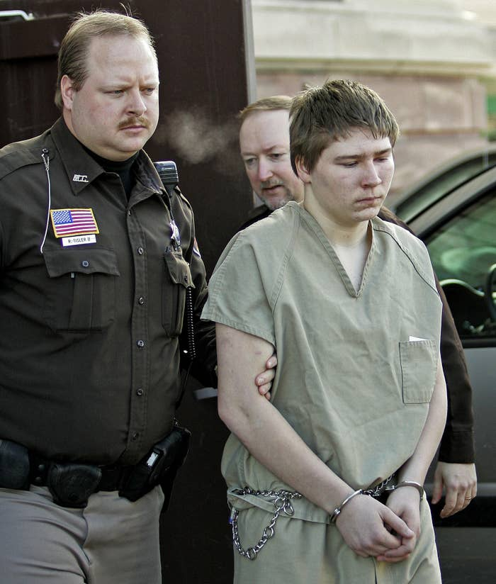 Brendan Dassey is escorted out of a Manitowoc County Circuit courtroom in Wisconsin in March 2006.