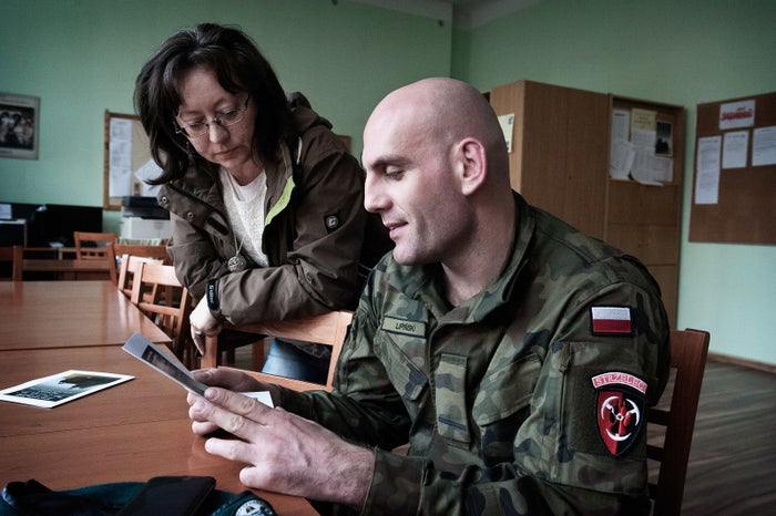 Military profile instructor Sebastian Lipínski heads up Unit 3060, a paramilitary organization created in 2015 in collaboration with Baranowska that's based at the high school. Unit 3060 classes are taught by both current and former army soldiers.