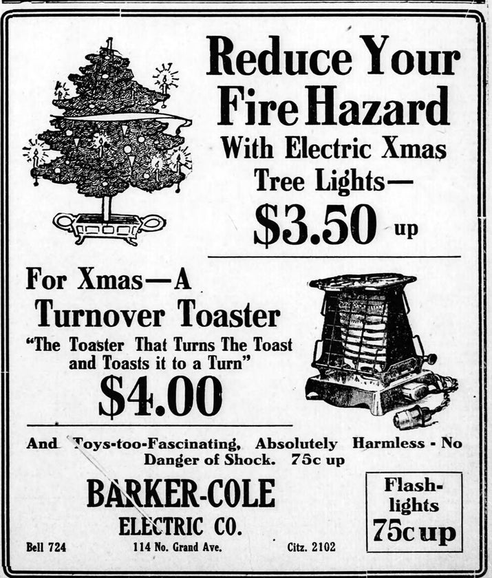 In 1906, a novelty lighting company in the US began to sell the first coloured electric tree lighting kits, and they gradually gained in popularity. They weren't much safer, though, as the electric lights were incredibly hot when switched on. Whoops.