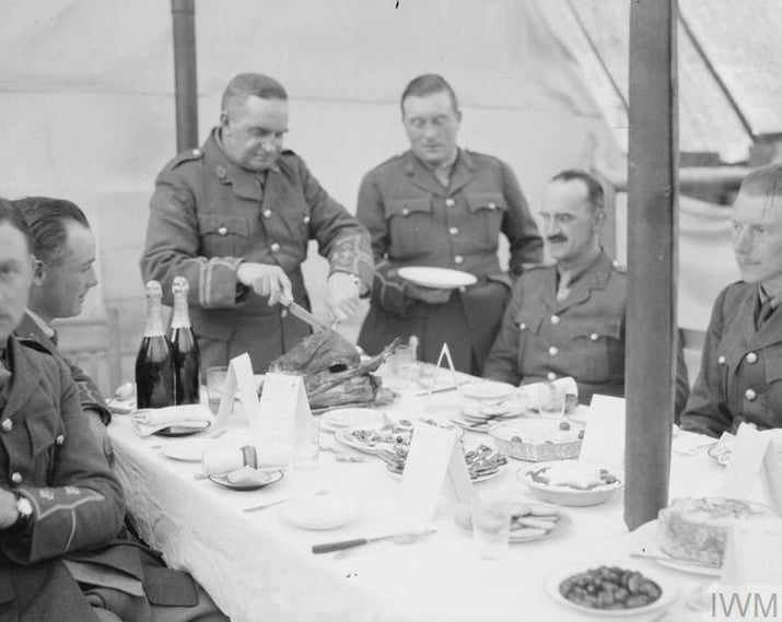 "Officers' mess tents were comfortable, they had army cooks to cater for them, and their meals featured (according to British officer John Wedderburn-Maxwell) ""roast pheasant, plum pudding and plenty of rum. Of course, the colonel could always get rather more than the ration! No, we had a real slap-up meal."" Lucky for some."