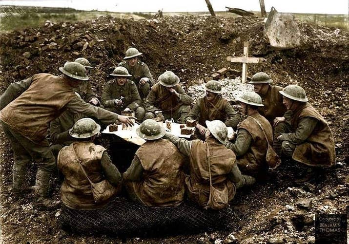 Troops in the trenches were expected to make do with their usual rations, usually corned beef. But some battalions would club together to buy hens or rabbits from local markets, share food gifts from home, and steal or requisition other items. It was a real team effort.