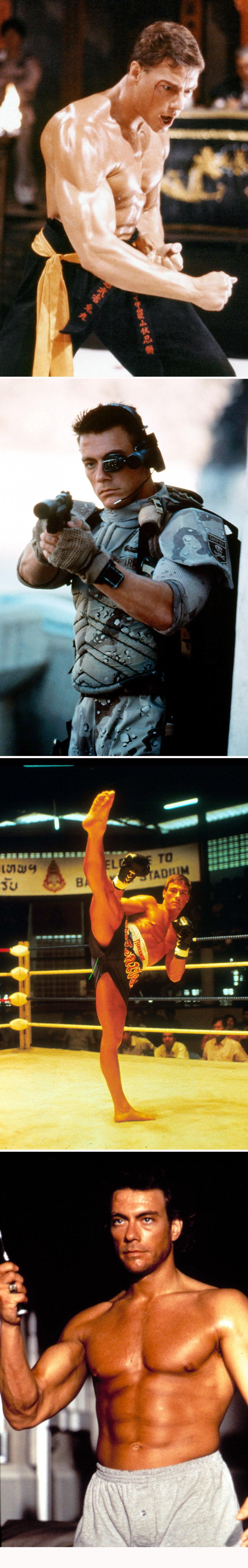 Van Damme in Bloodsport (1998), Universal Soldier (1992), Kickboxer (1989), and Timecop (1994).