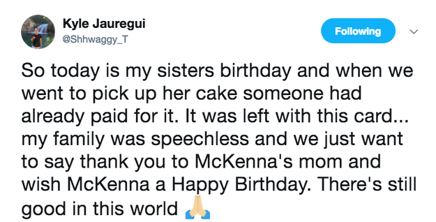 "Jauregui tweeted about the cake and the post went massively viral. ""My motivation was just the fact that my family was so appreciative,"" Jauregui said of why he decided to tweet about the cake. ""We wanted to contact the mother and just thank her and hug her."" Santi said a family friend of Jauregui's put her in touch with him."