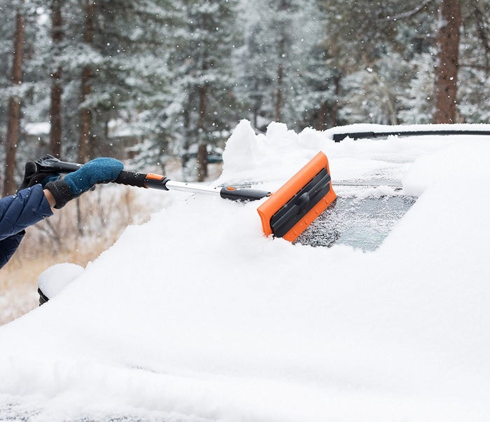 "This snow brush includes a rotating head, scratch-free windshield scraper, an icebreaker with jaws for when you have large pieces of ice to deal with (looking at YOU, Montana winters), and a telescope extender to easily reach every inch of snow and ice on your vehicle. Promising Review: ""This is the only tool you need in your car during the winter! It cleans off my car in less than five minutes. The comfortable, cushy handle telescopes out to get all the way across the roof of your car. It has a durable scraper, snow brush, and squeegee. What else could you need?"" —RockIt111701Get it from Amazon for $23.99."
