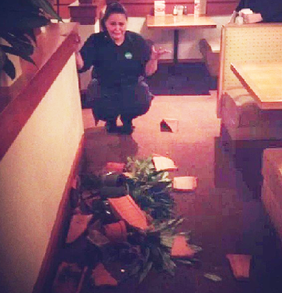 And this server broke a planter: