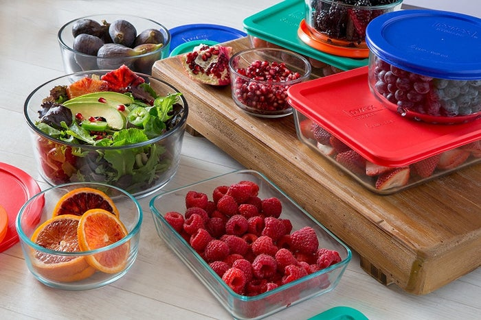 "And then invest in the power of Pyrex. You can see your food better and heat it up right in its container. Glass retains no smell/stains, and many people swear it makes food taste better/last longer (myself included). Set includes: one each: 1-cup round, 6-cup rectangle, 7-cup round; two each: 2-cup round, 4-cup round and 3-cup rectangle, and lids.Promising review: ""Fantastic! I recently decided to switch out all of my plastic containers for glass storage. I read tons of reviews and even tried a few brands. Pyrex by far beats the other companies. The containers are made of thick durable glass, and the lids are deceptively secure. I'm so glad I invested in this set. I'm actually going to purchase a second set. If I had to pick one fault I would say that the long square ones aren't super tall, so it's hard to use it for storage unless it's something specific like brownies or something rather flat, if that makes sense. If you're thinking about these, or thinking about switching to glass storage, do IT! Everything tastes better eating from glass, no stains, no retained smell, nothing."" –aliciaa_in_wonderlandGet them from Amazon for $36.99 or from Jet for $29.89."
