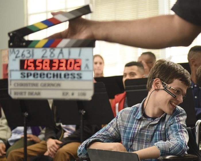 Micah Fowler on the set of Speechless.