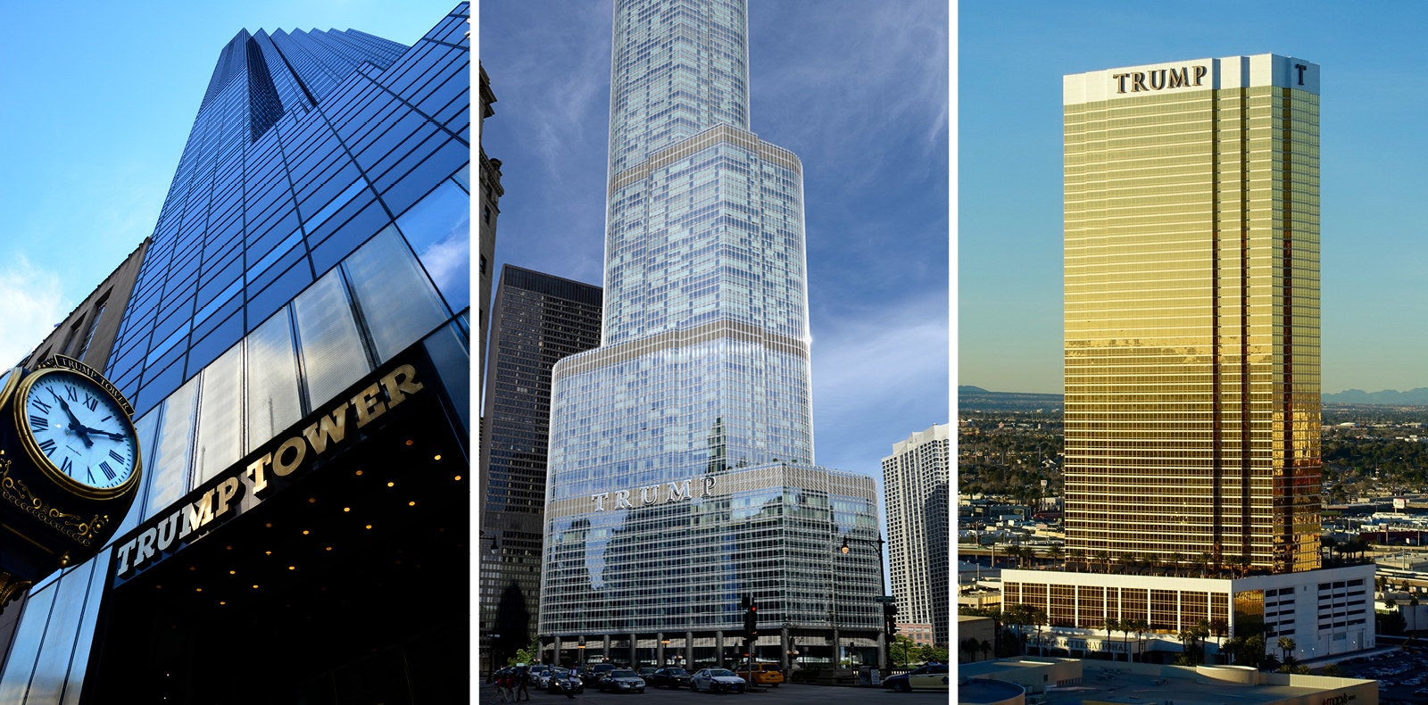 From left to right: Trump Tower in New York City, Trump International Hotel and Tower in Chicago, and Trump International Hotel Las Vegas.