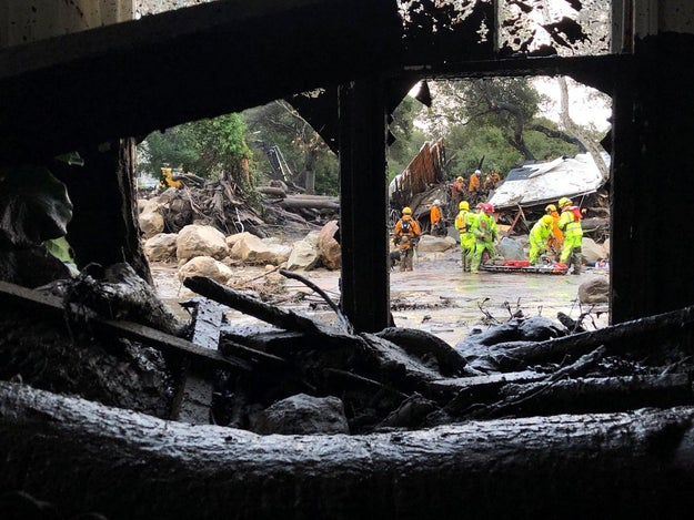 """Police have said the devastation is like something from """"World War One"""" after a mudslide ripped through parts of Southern California."""